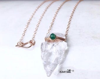 Genuine Emerald and Raw Quartz Arrowhead Necklace  / May Birthstone / Bohemian Jewelry / May Birthday Gift / Colombian Emerald Necklace