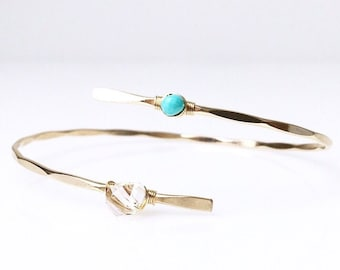 Turquoise Bypass Cuff / Herkimer Diamond / December Birthstone Jewelry/ Turquoise and Diamond Bracelet / Gift for Mom / Gold Gemstone Cuff