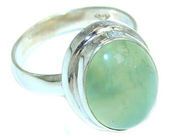 Moss Prehnite Sterling Silver Ring - weight 8.00g - Size 9 - dim L - 3 4, W - 5 8, T - 1 4 inch - code 11-sty-17-18