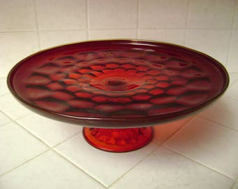 Vintage Red, Glass Cake Plate, Pedestal, Made by Viking, Christmas,