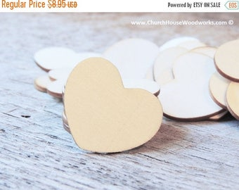 """Summer SALE 100 Blank 1-1/2"""" Wood Hearts, Wood Confetti Engraved Love Hearts- Rustic Wedding Decor- Table Decorations- Small Wooden Hearts"""