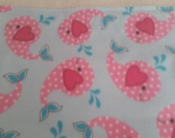 Pink Whales Fleece Blanket
