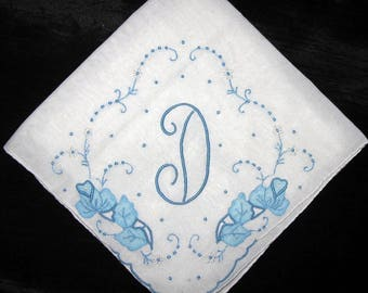Embroidered D, S, R, E, L or M Hankie Wedding Hankerchiefs Hankie Handkerchief Initial Letter