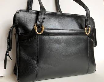 Vintage Marli Black Leather Handbag Made in Spain, 1960's Genuine Leather Purse, Mid-Century Bag