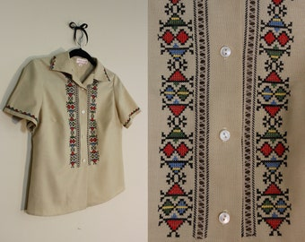 Sweet Southwestern Button Down Blouse with Embroidery and Open Stitching ||| 1950s ||| Size Medium