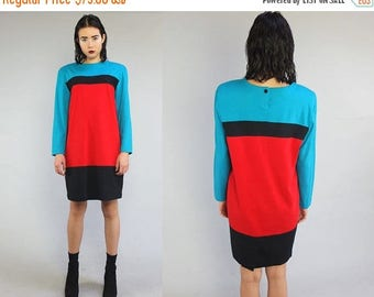 40OFF Vtg 90s Color Block Minimal Tent Mini Dress M