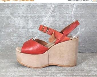 30OFF Vtg 70s leather suede platform wedge sandals 7.5