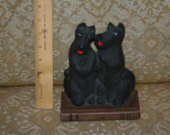 Vintage 1984 Pair of Scottish Terriers Sitting on Book  by Department 56!  Doorstop or Bookend!  Decoration!