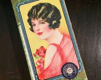 1920s Art Deco Cardboard Box, Lovely Vintage Candy Box, Pretty Flapper, Paradise Chocolates, Bohemian Décor, Romantic Antique