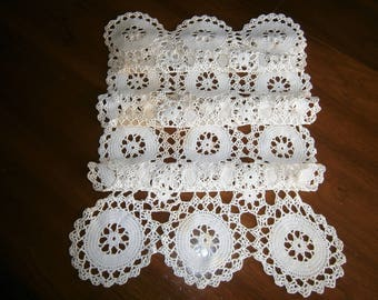 "Hand Crocheted Vintage Table Runner,  Wagon Wheel Design, Crochet Doily, White Cotton Crocheted Bureau  Scarf,  38"" Long,"