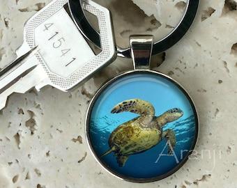 Sea turtle keychain, key chain, key ring, key fob, turtle keychain, turtle key chain, gift, turtle, gift for man, turtle keychain #AN128K