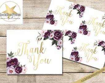 Purple Floral Thank you card - Shower Invite Purple, Plum, Gold Garden Brunch Shower _1308