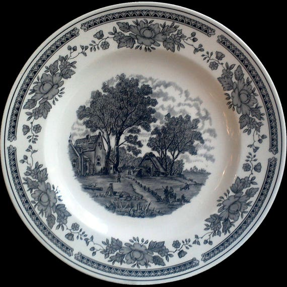 Black China Dinner Plate, Oxford, Black Dish, Old Dishes, Black Transferware, Ironstone, Serving, China Dishes, Farm Scene, Black and White