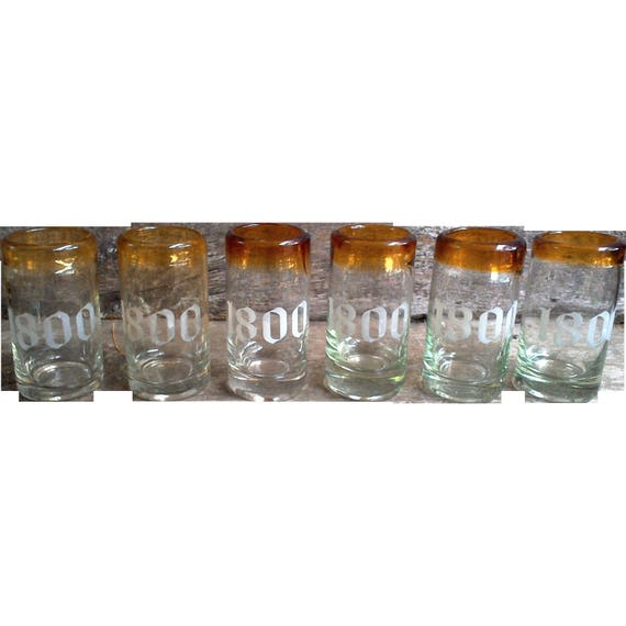 Vintage Clear and Amber Shot Glass Set of 6, Barware, Frosted 1800s logo, Glassware, Entertaining