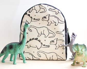 MADE TO ORDER, Customizable, Toddler Backpack, Hand Stamped, Dinosaur, Monochrome, Kids Backpack