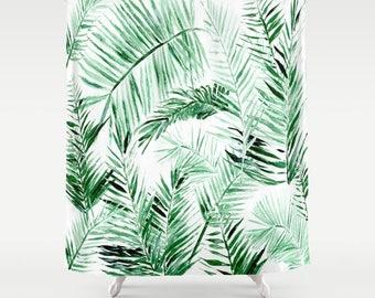 Palm Leaf Shower Curtain, tropical curtain, palm leaf curtain, leaf shower curtain, palm shower curtain, green curtain