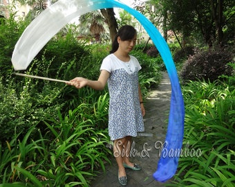 1 pc 2.5m*0.3m white-turquoise-blue silk streamer, for dance or play, real light silk, intercangeable sticks