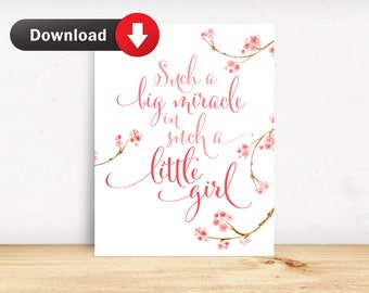 Instant Download Such A Big Miracle In Such A Little Girl Printable Nursery Art Typography Quote Wall Art Pink Nursery Decor Childrens Art