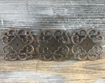 Vintage Set of 3 Metal Back Plates, Copper Colored Vintage Hardware
