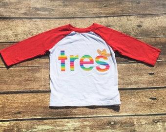 Tres, Fiesta, Party,Sombrero,Three, Third Birthday, Third Fiesta, Gender Neutral,Shirt,Photo Prop,Birthday Shirt