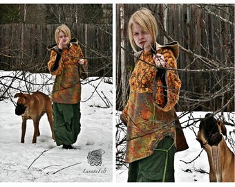 Eco style and boho chic fashion felted hoodie from natural silk and A-Grade wool (with hand knitted fragments) OOAK - only to order