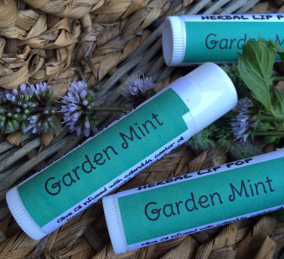 Garden Mint Herbal Lip Pop - Handcrafted Lip Balm Made with Calendula Infused Oil  - Ships free with any other purchase!