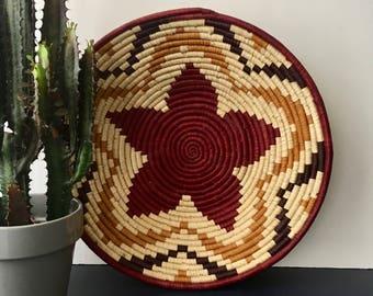 vintage African coil wrapped basket star rust mustard boho decor