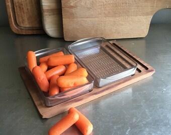 vintage luthje snack tray set Denmark wooden platter tableware