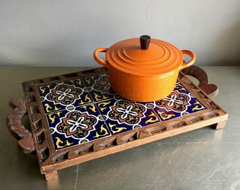 vintage wood and tile trivet hot plate boho Mexico kitchen decor cobalt blue