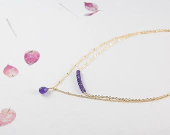 Amethyst Layered Necklace, Two Layer Necklace, Dainty and Delicate Fine Gold Satellite Chain, February Birthstone
