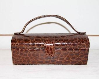 Best & CO  Brown Alligator Box Purse by Alan, Vintage