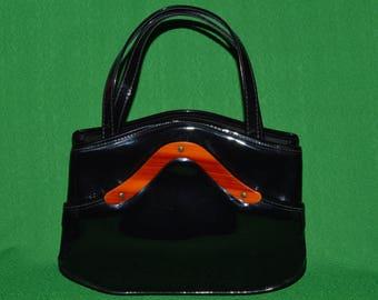 Vintage Black Vinyl Black Patent Handbag Purse by  Granada U.S.A. 1960s