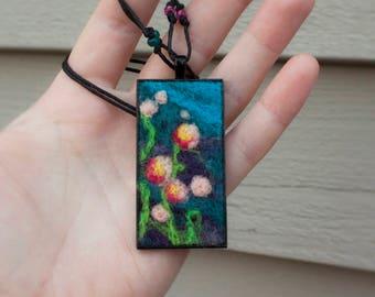 Rectangular Needle Felted Floral Pendant