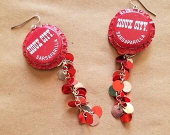 Sioux City Bottle Cap Earrings