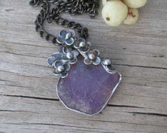 pendant with raw  amethyst