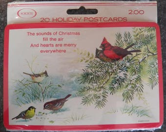 Vintage Christmas NORCROSS Holiday Postcards Birds~GIORDANO Signed NEW Sealed Package Lot of 20