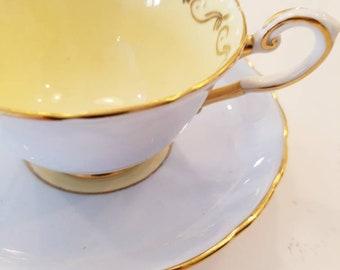 TUSCAN Stunning Pastel Blue  Tea Cup and Saucer with pale creamy yellow center. Made in England  / Shabby Elegant Teacup Set/  customizable