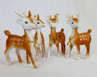 Set of Four, Vintage Mid Century, Plastic Christmas Reindeer, Moveable Heads, Gold Bells, Hong Kong