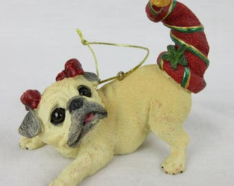 Vintage Pug Puppy Christmas Tree Ornament / Playful Pose  / Gift for Dog or Pug Lover, Owner / Danbury Mint Pugs and Kisses