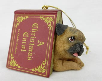 Vintage Pug Puppy Christmas Tree Ornament / Book, A Christmas Carol / Gift for Dog or Pug Lover, Owner / Danbury Mint Pugs and Kisses