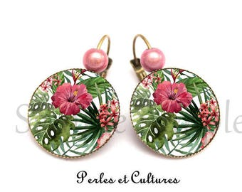 Earrings tropical flowers - pink green cabochon