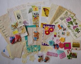 Junk journal kit -embellishments kit -craft destash -scrapbook kit -mixed media kit -vintage papers pack -inspiration kit -paper ephemera