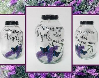 Hand painted Butterflies Lantern, candle holder, light jar, night light, wedding centrepiece, MADE TO ORDER.