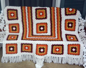 Hand Crochet Afghan - Orange, White, Yellow, Brown - Home Decor, Warm - Vintage - Fabulous!
