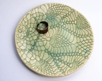 green jewelry plate, lace texture, round pattern, jewelry dish, ring display, small ceramic plate, keys holder, housewarming gift