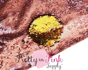FULL YARD Rose Gold/Gold Two Sided Sequin Fabric -  Sequin Fabric - Fabric by the Yard - DIY Sequin- Reversible Sequin Fabric