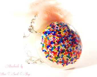 Resin and Nonpareil Sprinkle Bag or Purse Charm, Kawaii Candy Jewelry, Sweet Lolita Accessories, Fairy Kei, Harajuku Fashion
