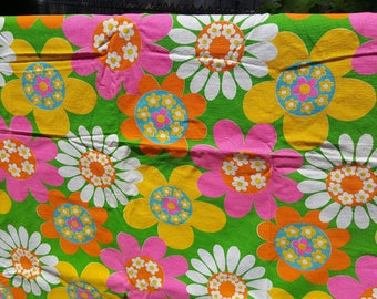 2.8yds Vintage Fabric Neon Colors Bright Floral Flowers Daisy