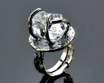 Herkimer Diamond Ring, Natural Gemstone Engagement Ring Raw, Handmade Sterling Silver Ring, Conflict Free Rough Gemstone Ring SKU: R2470