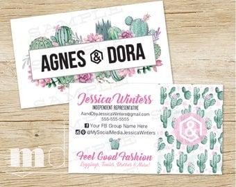 Agnes and Dora Business Cards, Custom Agnes & Dora Business Card, Watercolor Succulent Cactus, Small Business Marketing Branding, PRINTABLE